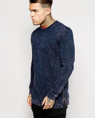 Fashion Shop - ASOS Longline Sweatshirt With Acid Wash & Side Zips - Navy