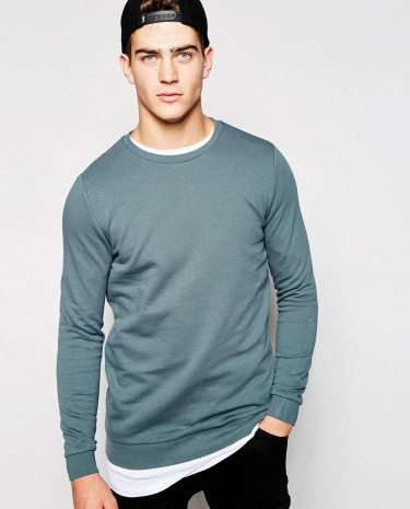 Fashion Shop - ASOS Longline Sweatshirt With Crew Neck - Grey