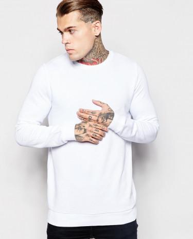 Fashion Shop - ASOS Longline Sweatshirt With Crew Neck - White