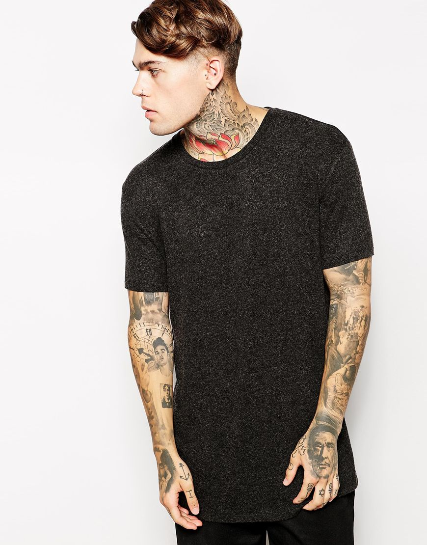 Fashion Shop - ASOS Longline T-Shirt In Knitted Wool Effect - Charcoalmarl