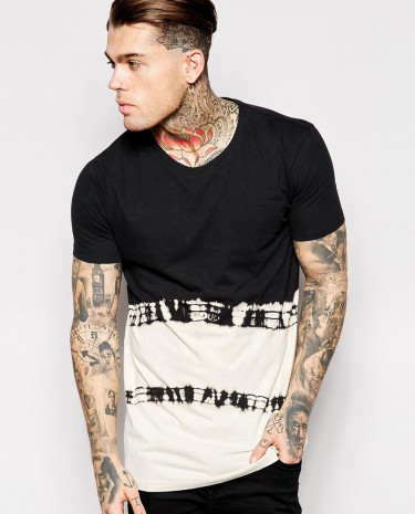 Fashion Shop - ASOS Longline T-Shirt With Bleach Effect And Oversized Boxy Fit - Black