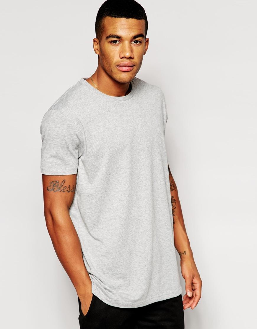 Fashion Shop - ASOS Longline T-Shirt With Crew Neck - Greymarl