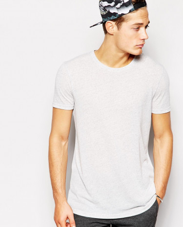 Fashion Shop - ASOS Longline T-Shirt With Linen Mix Jersey And Relaxed Fit - Grey