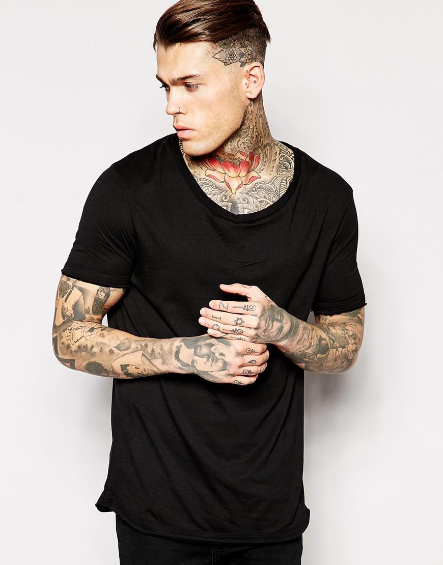 Fashion Shop - ASOS Longline T-Shirt With Stretch Neck And Dropped Hem - Black