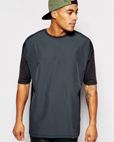 Fashion Shop - ASOS Longline T-Shirt With Woven Front Panel And Oversized Fit - Charcoal