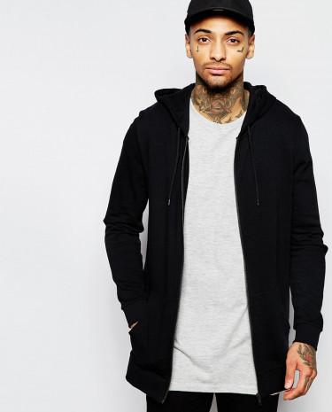 Fashion Shop - ASOS Longline Zip Up Hoodie - Black