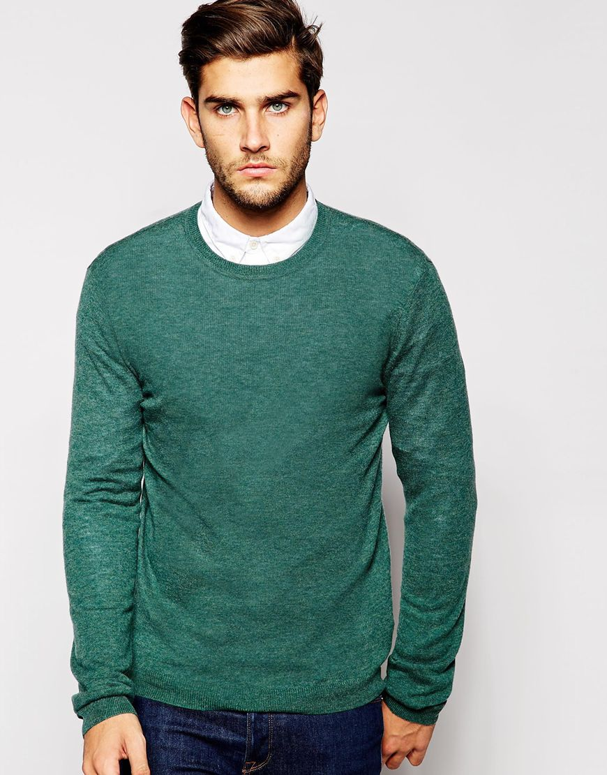 Fashion Shop - ASOS Merino Wool Crew Neck Jumper - Greenmarl