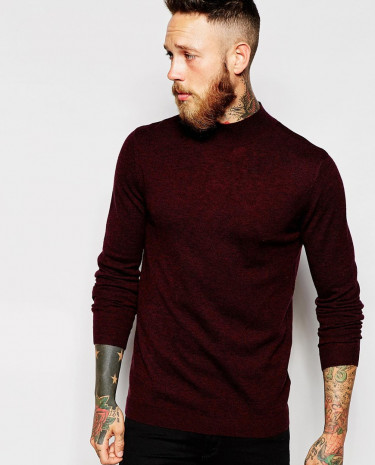 Fashion Shop - ASOS Merino Wool Turtleneck jumper - Burgundytwist