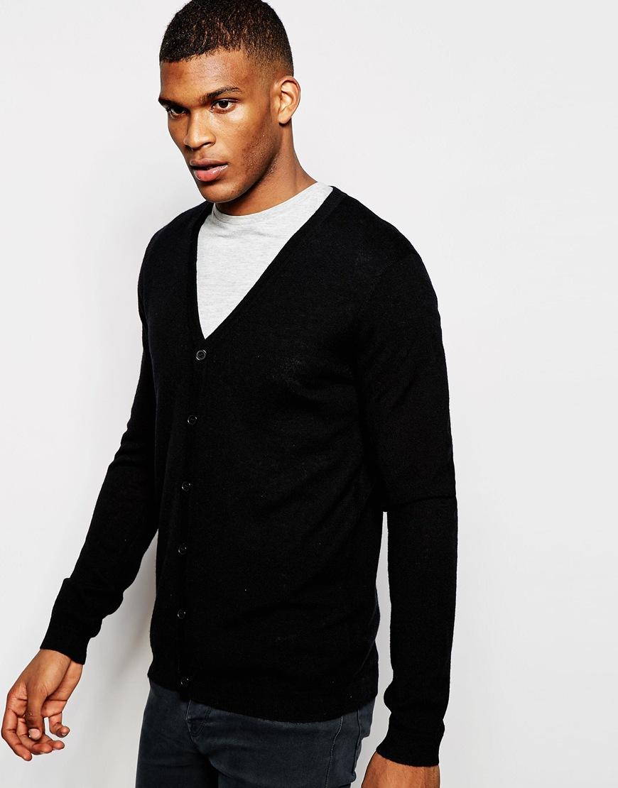 Fashion Shop - ASOS Merino Wool V Neck Cardigan - Black
