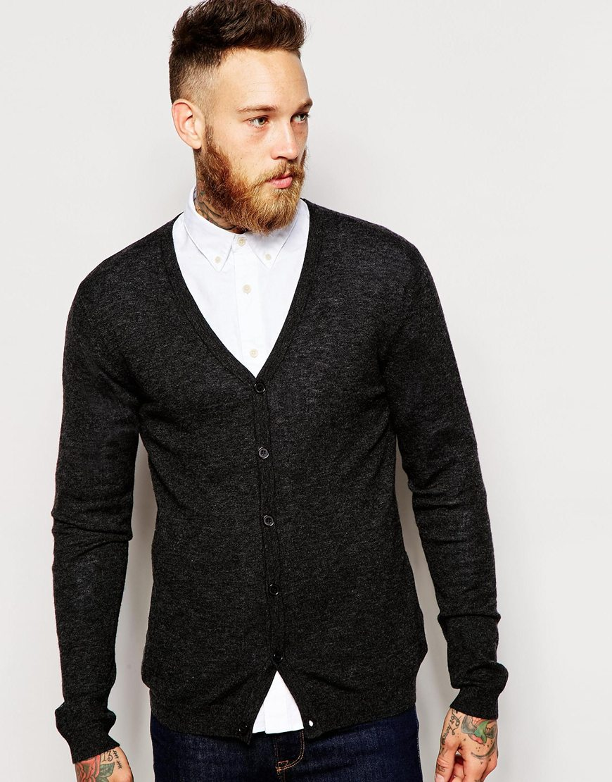 Fashion Shop - ASOS Merino Wool V Neck Cardigan - Charblacktwist
