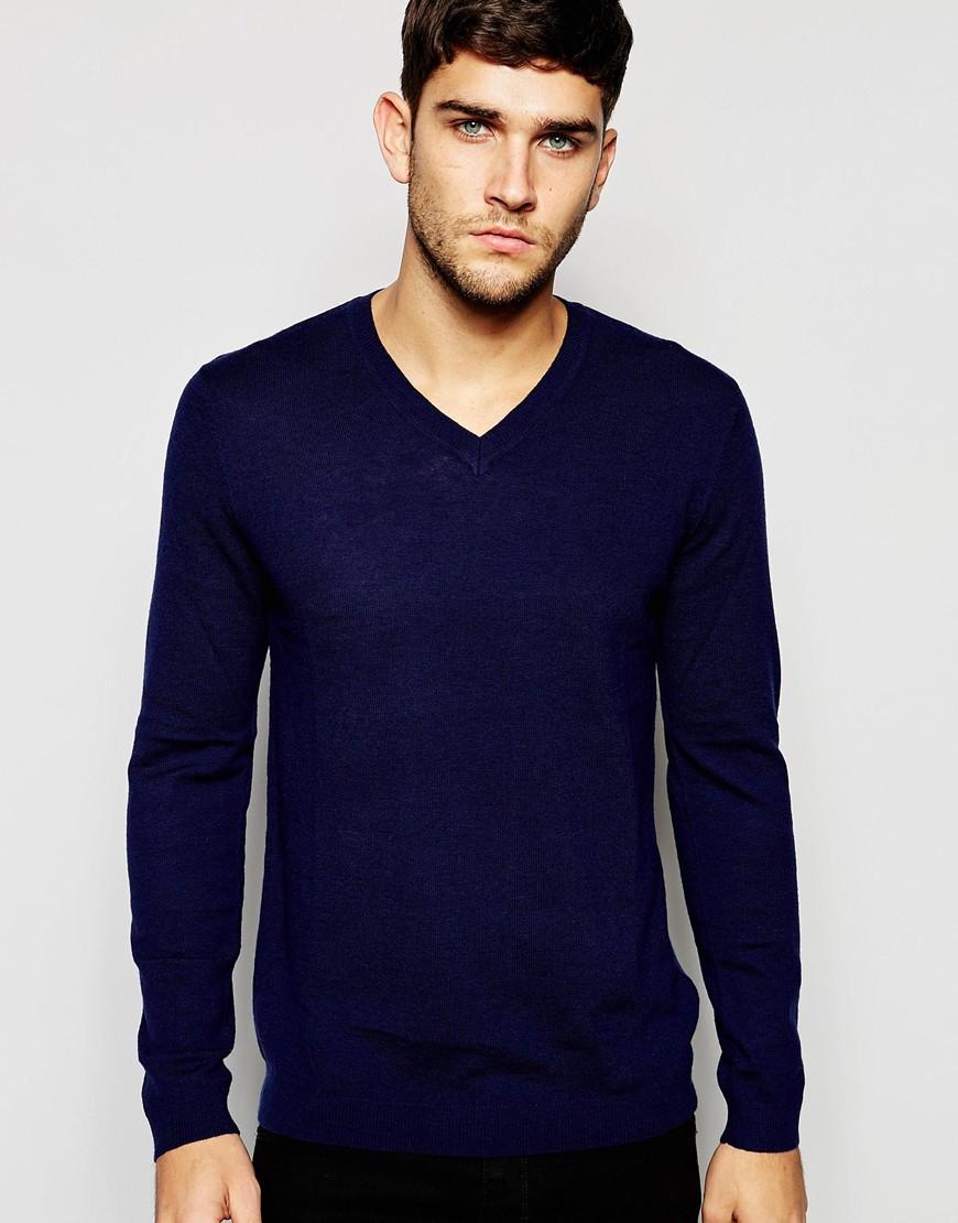 Fashion Shop - ASOS Merino Wool V Neck Jumper - Navy