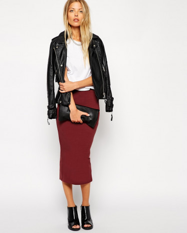 Fashion Shop - ASOS Midi Pencil Skirt in Jersey - Burgundy