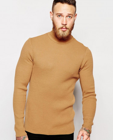 Fashion Shop - ASOS Muscle Fit Roll Neck Ribbed Jumper - Camel