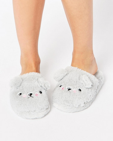 Fashion Shop - ASOS NELSON Grumpy Ted Slippers - Grey