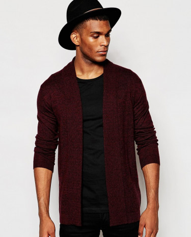 Fashion Shop - ASOS Open Front Cardigan in Merino Wool mix with Texture Lapel - Burgundytwist