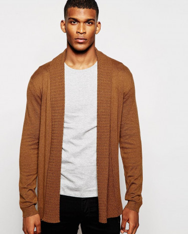 Fashion Shop - ASOS Open Front Cardigan in Merino Wool mix with Texture Lapel - Tan