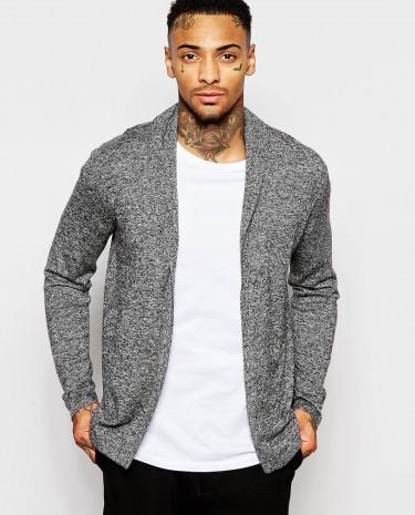 Fashion Shop - ASOS Open Shawl Cardigan in Merino Wool Mix - Blackandgreytwist