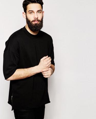 Fashion Shop - ASOS Oversized Short Sleeve Sweatshirt With Side Zips - Black