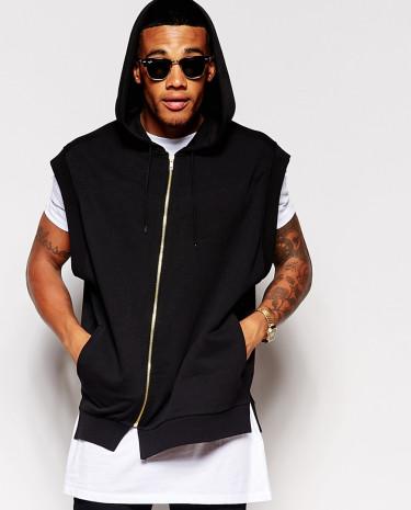 Fashion Shop - ASOS Oversized Sleeveless Hoodie With Asymmetric Zip - Black