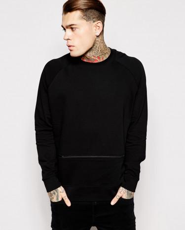Fashion Shop - ASOS Oversized Sweatshirt With Zip - Black