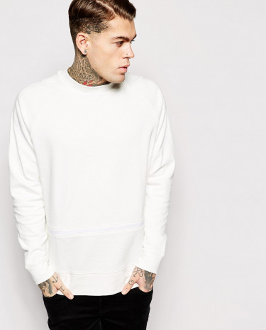 Fashion Shop - ASOS Oversized Sweatshirt With Zip - Offwhite