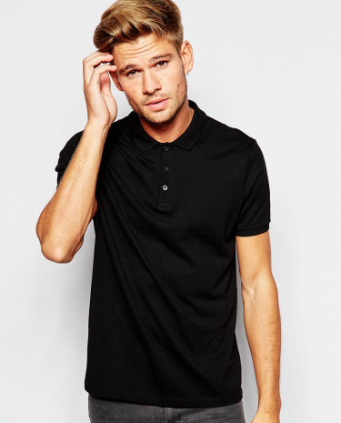 Fashion Shop - ASOS Polo Shirt In Jersey - Black