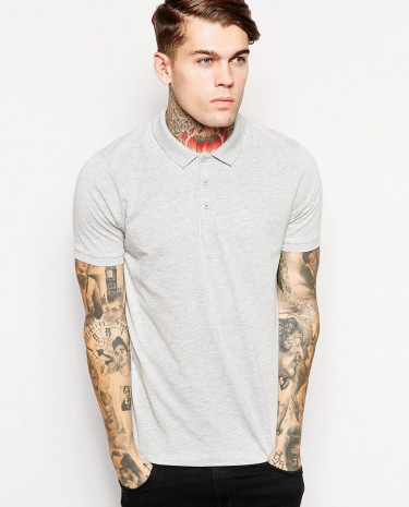 Fashion Shop - ASOS Polo Shirt In Jersey - Greymarl