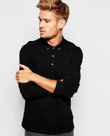 Fashion Shop - ASOS Polo Shirt With Long Sleeves In Pique - Black