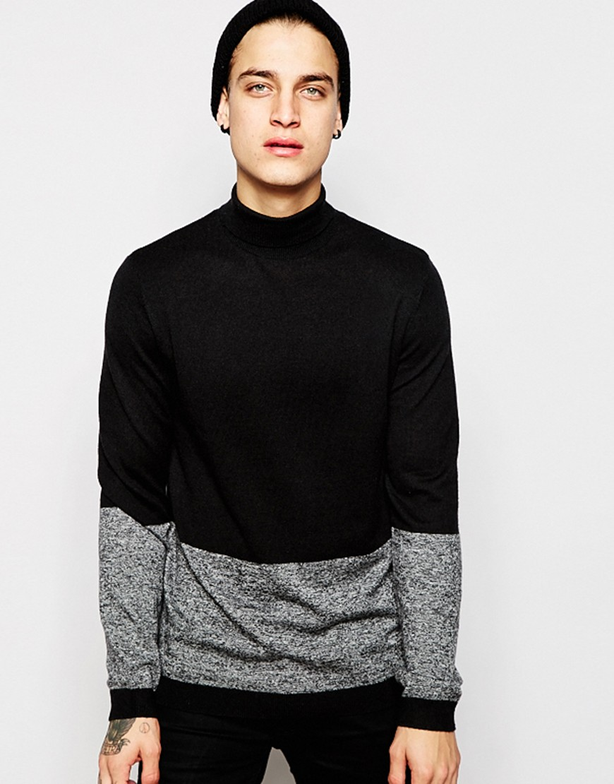 Fashion Shop - ASOS Roll Neck Jumper with Colour Block in Merino Wool Mix - Black