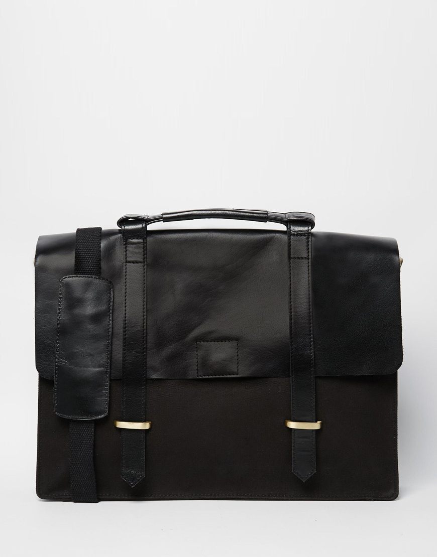 Fashion Shop - ASOS Satchel In Black Canvas and Leather - Black