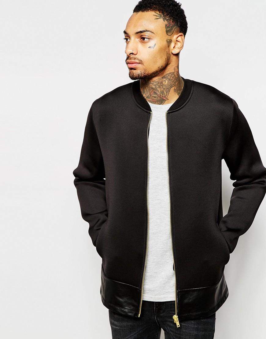 857bffeae2e Fashion Shop ASOS Scuba Bomber Jacket With Faux Leather Hem - Black ...