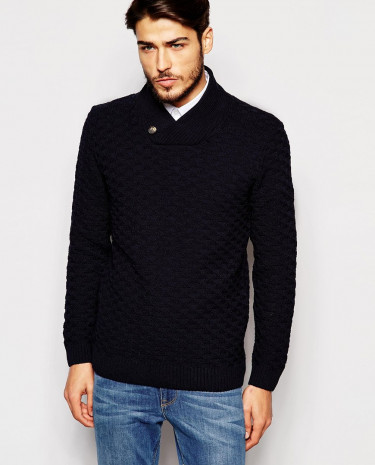 Fashion Shop - ASOS Shawl Neck Jumper with Textured Knit - Navy