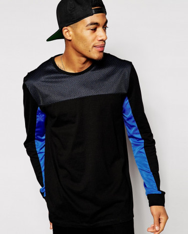 Fashion Shop - ASOS Skater Long Sleeve T-Shirt With Rip Stock And Mesh Cut And Sew - Black