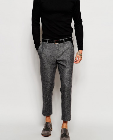 Fashion Shop - ASOS Skinny Cropped Suit Pants With Faux Leather Trim - Grey