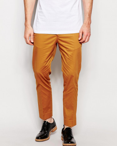 Fashion Shop - ASOS Skinny Fit Smart Cropped Pants In Cotton Sateen - Mustard