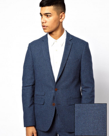 Fashion Shop - ASOS Skinny Fit Suit Jacket In Blue Dogstooth - Blue