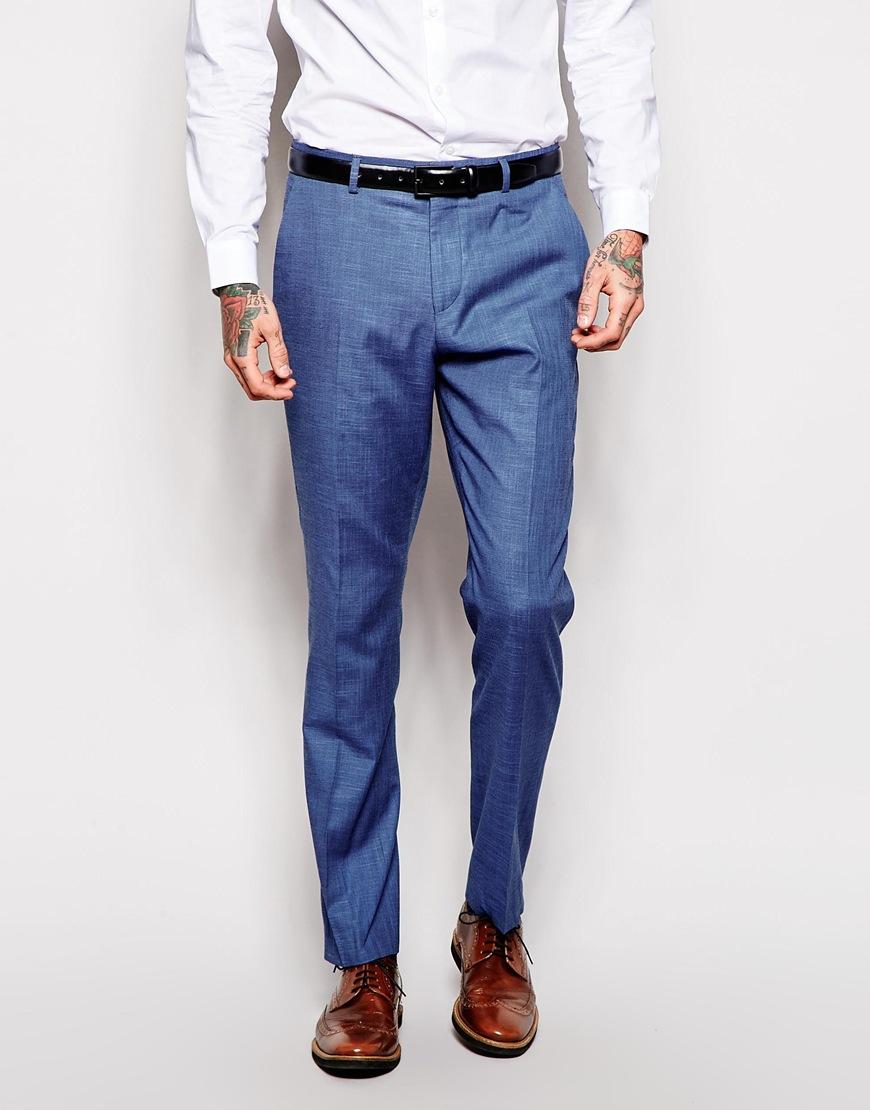 Fashion Shop - ASOS Skinny Fit Suit Pants In Blue - Blue