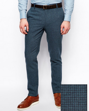 Fashion Shop - ASOS Skinny Fit Suit Pants In Blue Dogstooth - Blue