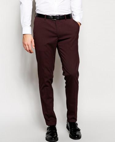 Fashion Shop - ASOS Skinny Fit Suit Pants In Burgundy - Burgundy