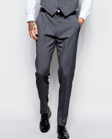 Fashion Shop - ASOS Skinny Fit Suit Pants With Stretch - Charcoal
