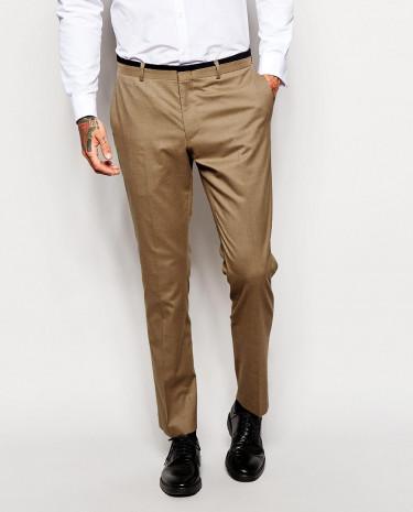 Fashion Shop - ASOS Skinny Fit Suit Pants With Velvet Trim - Camel
