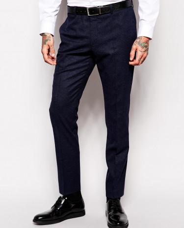 Fashion Shop - ASOS Skinny Fit Suit Pants With Velvet Trim - Navy