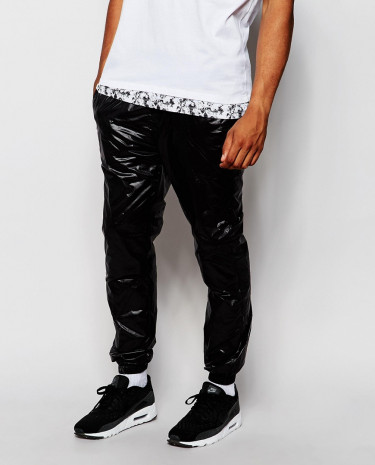 Fashion Shop - ASOS Skinny Joggers In Shine - Black
