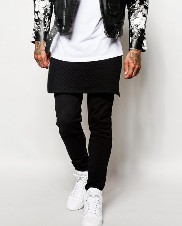 Fashion Shop - ASOS Skinny Joggers With Quilted Long Line Panels - Black