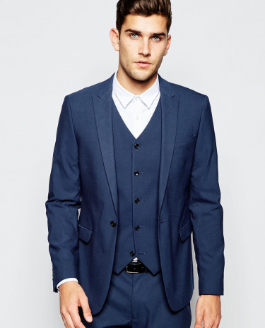 Fashion Shop - ASOS Skinny Suit Jacket In Blue - Blue