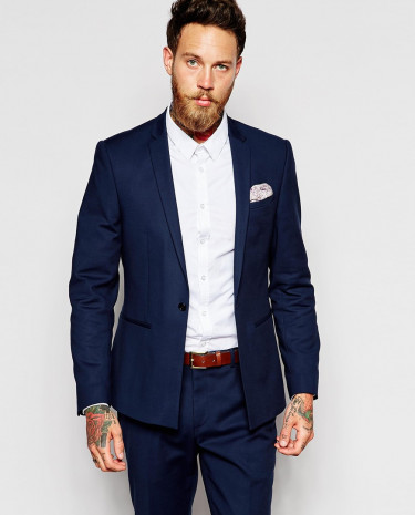 Fashion Shop - ASOS Skinny Suit Jacket In Navy - Navy