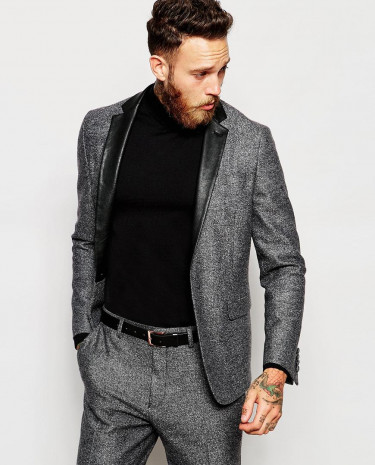 Fashion Shop - ASOS Skinny Suit Jacket With Faux Leather Trim - Grey