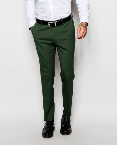 Fashion Shop - ASOS Skinny Suit Pants In Green - Green