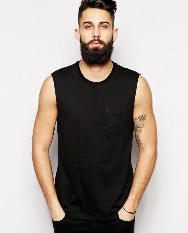 Fashion Shop - ASOS Sleeveless T-Shirt With Pocket - Black