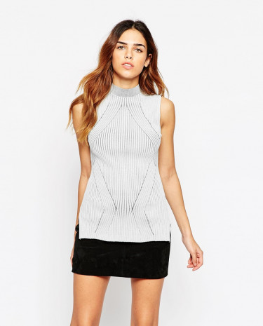 Fashion Shop - ASOS Sleeveless Top With Turtle Neck In Directional Rib - Grey